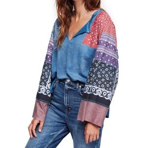 Free People Blue Color-block Tunic